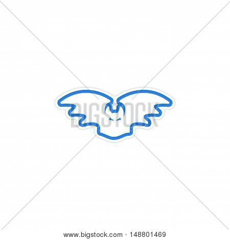 Sticker Bright silhouette of a bat on a white background