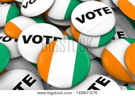 Cote D'ivoire Elections Concept - Ivorian Flag And Vote Badges 3D Illustration