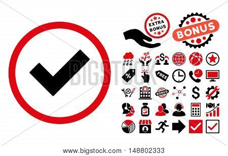 Accept icon with bonus pictures. Vector illustration style is flat iconic bicolor symbols, intensive red and black colors, white background.