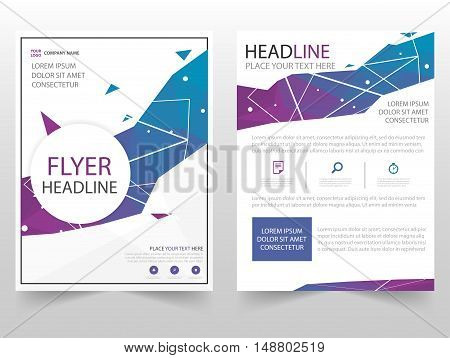Blue purple polgon Brochure Leaflet Flyer annual report template design book cover layout design abstract business presentation template a4 size design
