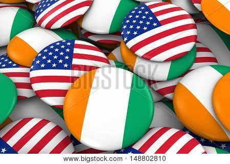 Usa And Cote D'ivoire Badges Background - Pile Of American And Ivorian Flag Buttons 3D Illustration