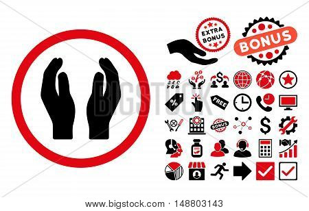 Applause Hands pictograph with bonus elements. Vector illustration style is flat iconic bicolor symbols, intensive red and black colors, white background.