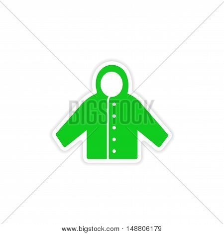 icon sticker realistic design on paper raincoat