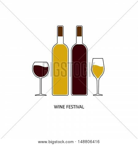 wine festival bottles and glasses for white and red wine. emblem symbol. vector illustration.