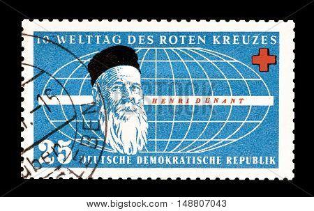 GERMAN DEMOCRATIC REPUBLIC - CIRCA 1957 : Cancelled postage stamp printed by German Democratic Republic, that shows Henri Dunant.