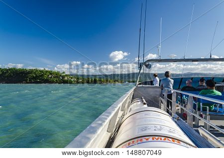PORT DOUGLAS, AUSTRALIA - AUGUST 29, 2014: The end of a boat trip into the Great Barrier Reef.