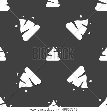 Poo Icon Sign. Seamless Pattern On A Gray Background. Vector