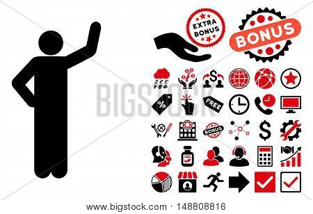 Assurance Pose icon with bonus symbols. Vector illustration style is flat iconic bicolor symbols, intensive red and black colors, white background.