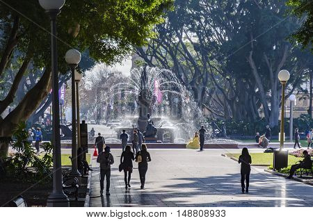 SYDNEY, AUSTRALIA - AUGUST 04, 2014: Fountain at the entrance of the Hyde Park in Sydney.