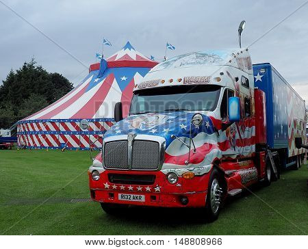 American cruiser circus. Forfar, Szkocja- September 13, 2016 Large truck and a circus from the United States in the parking lot in the Scottish town of Forfar.