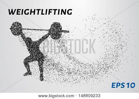 Weightlifter of the particles. Weightlifter raises the bar consists of points. Vector illustration
