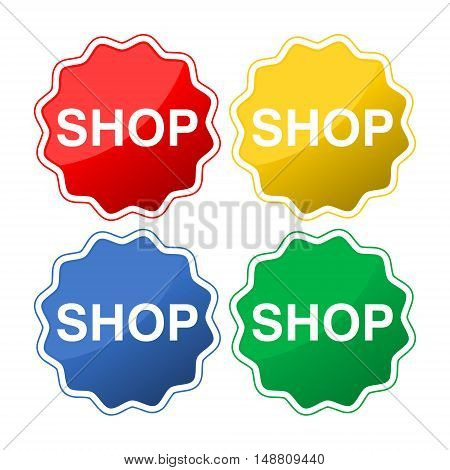 Shop button icon set on white background