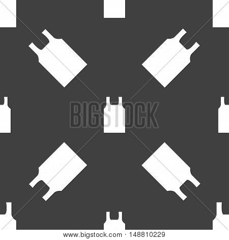 Working Vest Icon Sign. Seamless Pattern On A Gray Background. Vector