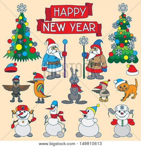Holiday card with snowflakes and says Happy new year.