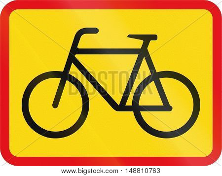 Temporary Road Sign Used In The African Country Of Botswana - The Primary Sign Applies To Cyclists