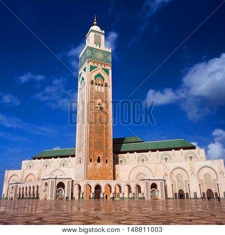 Famous Hassan II Mosque in Casablanca, Morocco.