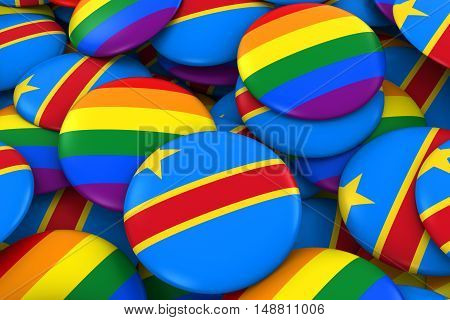 Dr Congo Gay Rights Concept - Congolese Flag And Gay Pride Badges 3D Illustration