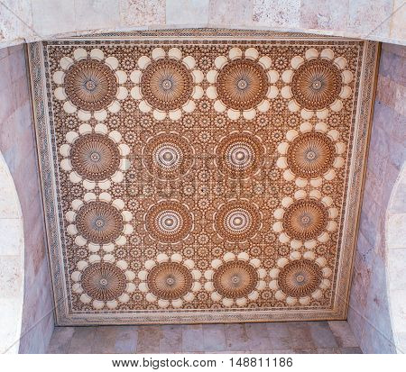 Richly decorated ceiling in the Hassan II Mosque in Casablanca Morocco