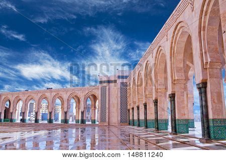 Arcade gallery in Hassan II Mosque in Casablanca, Morocco, North Africa.