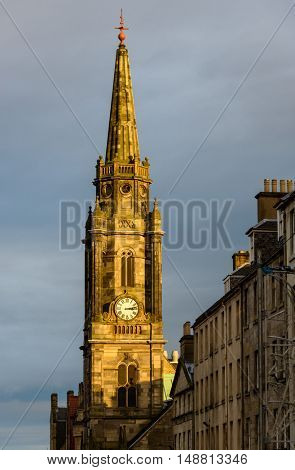 Tron Kirk church clock tower at sunset in Edinburgh, Scotland, UK