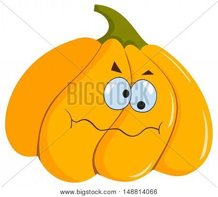 funny hallowen pumpkin on the white background