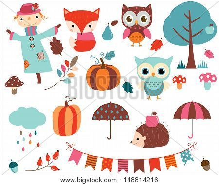 Autumn set with scarecrow and woodland animals