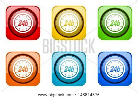 24h colorful web icons