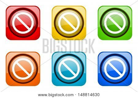 access denied colorful web icons