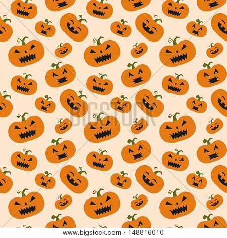 Halloween vector seamless pattern with the pumpkins.