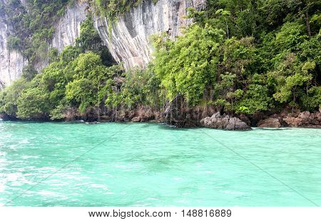 The dramatic island of PhiPhi Ley in Maya Bay in the Andaman Sea in Thailand.
