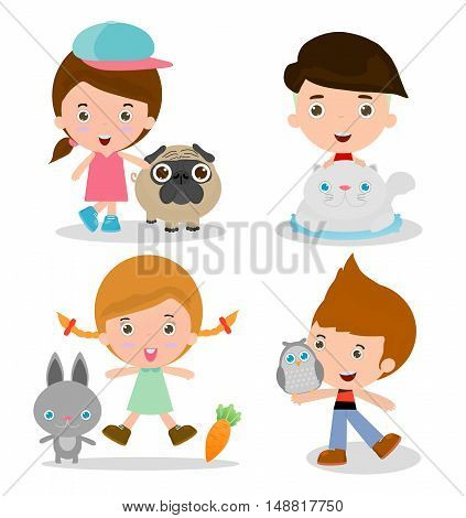 Kids and Pets, children beside Their Pets Kids and Pets, Kids with their Pets, Vector illustration. Isolated on white background