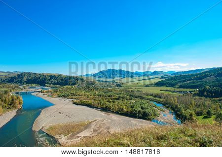 Mountains landscape in autumn beauty day. Altay, Russia