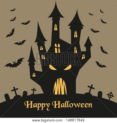 Spooky silhouette vector photo free trial bigstock spooky silhouette of halloween castle and bats for halloween invitation card or halloween party poster stopboris Gallery