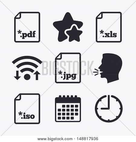 Download document icons. File extensions symbols. PDF, XLS, JPG and ISO virtual drive signs. Wifi internet, favorite stars, calendar and clock. Talking head. Vector