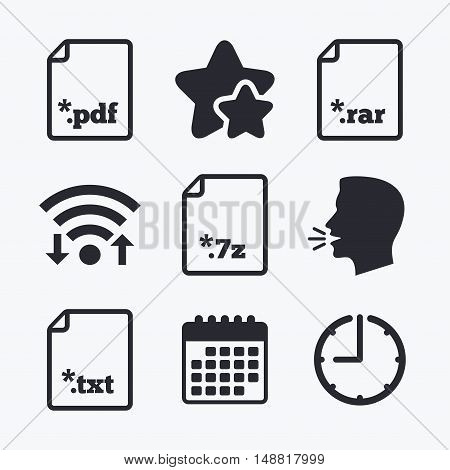 Download document icons. File extensions symbols. PDF, RAR, 7z and TXT signs. Wifi internet, favorite stars, calendar and clock. Talking head. Vector