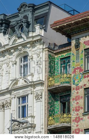 Architecture Vienna Art Nouveau houses on the Wienzeile by architect Otto Wagner poster