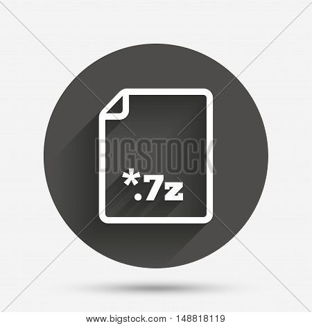 Archive file icon. Download compressed file button. 7z zipped file extension symbol. Circle flat button with shadow. Vector