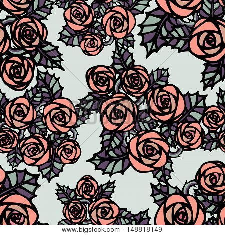 Seamless pattern with pink roses in tattoo style