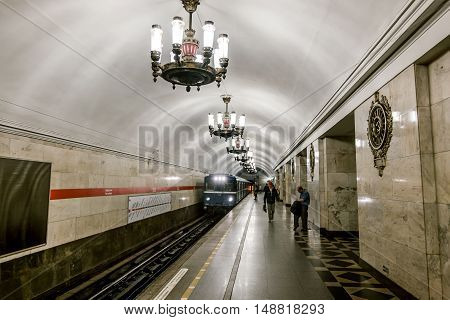 Saint-Petersburg.Russia.13 Sep 2016.The platform and interior of the station Narvskaya in Saint-Petersburg subway.