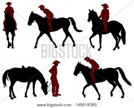 cowboy riding a horse silhouettes - vector