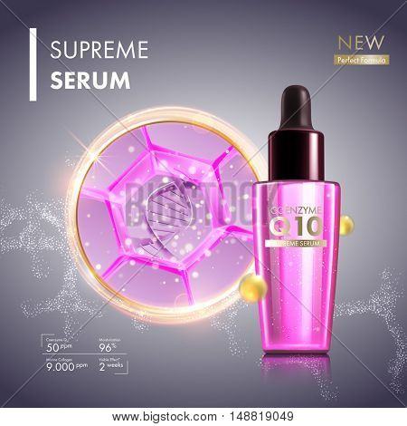 Skin cell moisture essence with coenzyme Q10. Face care collagen oil serum essence with DNA helix. Honeycomb cell