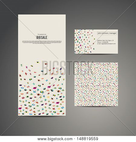 Business brochure flyer banner, business card and card with seamless pattern. Vector template design. Many people run to an inscription big sale. Crowd runs to contact information. People top view.