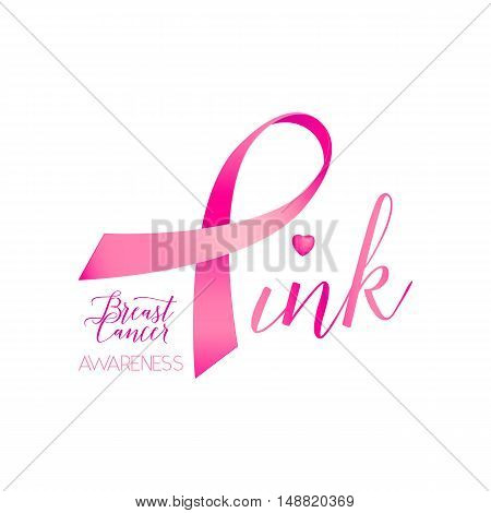 Vector illustration of breast cancer ribbons and heart awareness women background. Breast cancer pink card with ribbon and text lettering sign Pink