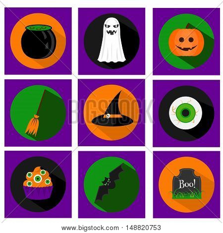 Halloween vector flat icons with long shadows. Traditional holiday symbols pumpkin ghost bat hat and other. For web applications stickers and other business