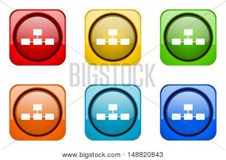 database colorful web icons