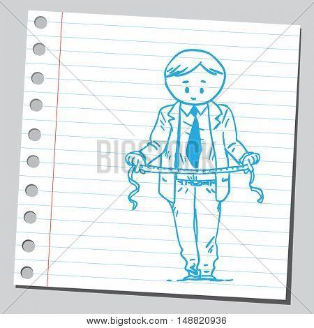 Businessman measuring his waist