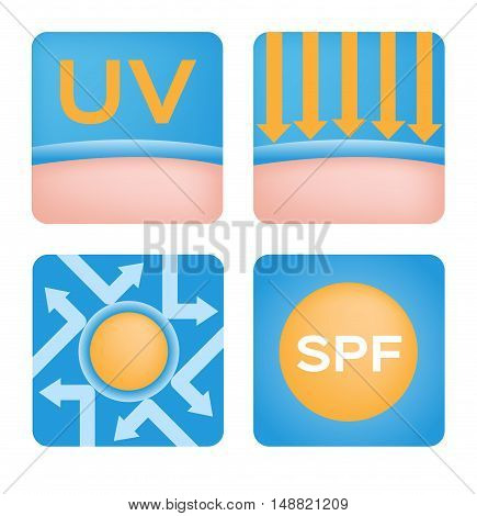 uv logo and icon sets spf vector, 6 orange uv set
