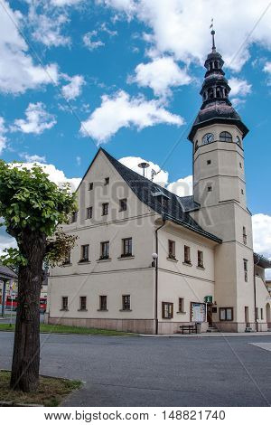 STARE MESTO, JESENIKY MOUNTAINS, CZECH REPUBLIC, JULY 04, 2016: Town hall on the square