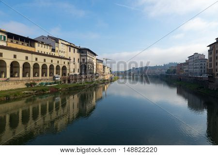 View of the river in Florence Italy