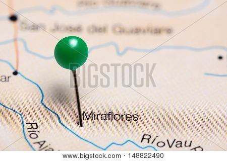 Miraflores pinned on a map of Colombia